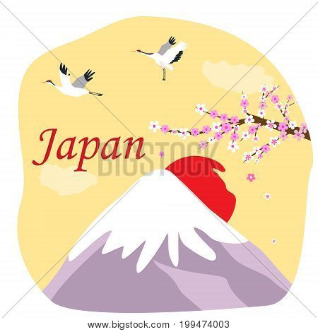 Japanese background with Fuji mountain, cranes and blooming sakura