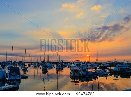 Docked Yachts On Manila Bay In Philippines