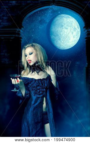 Vampire Girl With Glass Of Wine