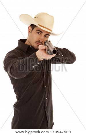 Cowboy Pointing Shotgun