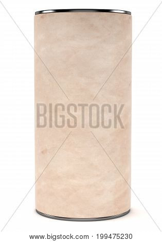 Blank cardboard cylindrical package with metal cap isolated on white background. 3d rendering