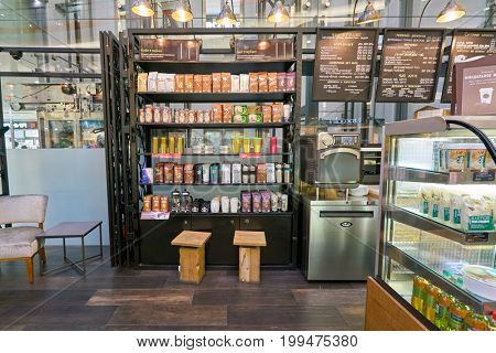 SAINT PETERSBURG, RUSSIA - CIRCA AUGUST, 2017: Starbucks coffee shop at a shopping center in Saint Petersburg. Starbucks Corporation is an American coffee company and coffeehouse chain.