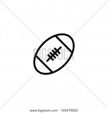 Thin Line Rugby Ball Icon On White Background