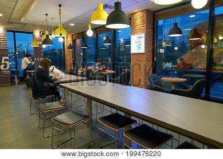 BUSAN, SOUTH KOREA - CIRCA MAY, 2017: inside McDonald's restaurant. McDonald's is an American hamburger and fast food restaurant chain.