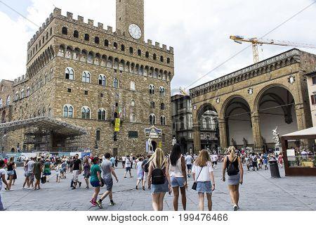 FLORENCE, ITALY - JULY 25, 2017: Piazza della Signoria - Tuscany