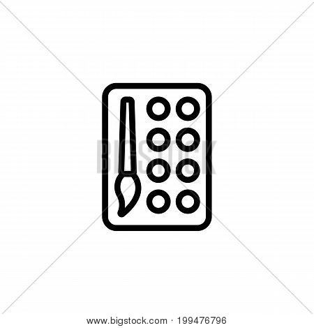 Thin Line Color Palette Icon On White Background