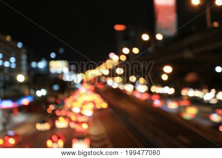 Abstract Circular Bokeh Motion Lens Blur Backround Of City And Street Light Or Bokeh Light From Car