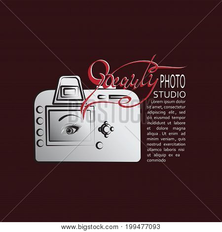 Camera and the inscription the BEAUTY.. Emblem. Banner, poster for Studio with place for tex ton dark red background Vector image for a photographer, producers, theme website. Design for printing.