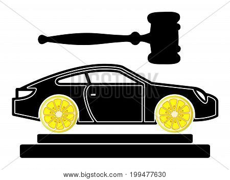 Lemon Car Court Case. Concept sign for lawsuits over lemon complaints