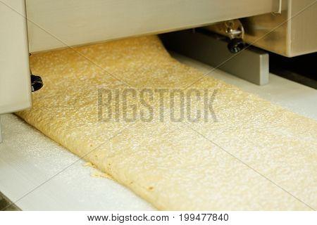 Dough sheeter machine produce continuous dough sheet. Selective focus.