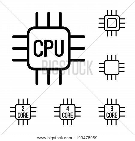 Thin Line Cpu, Processor Icons Set On White Background