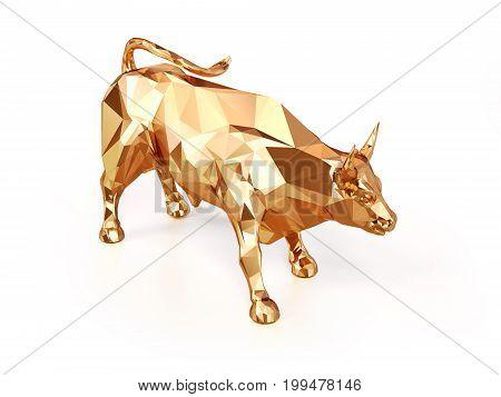 3d Golden Bull illustration business market on a white background
