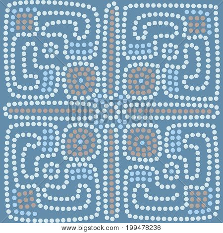 ethnic tiled pattern background in blue colors vector illustration