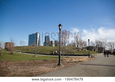 Grass field and walkway at Roosevelt island
