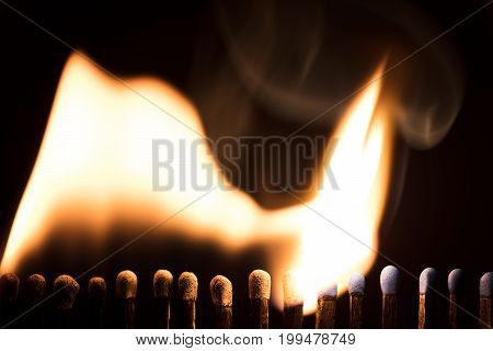 Matchsticks Are Burning, Chain Reaction With Fire And Flames