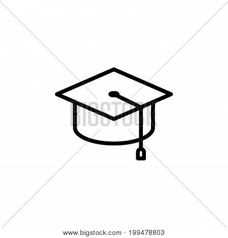 Thin Line Graduation Cap Icon On White Background