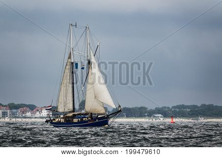 Sailing ships on the Baltic Sea in Warnemuende Germany.