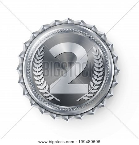 Silver Medal Vector. Round Championship Label. Competition Challenge Award. Red Ribbon. Isolated On White. Realistic Illustration.