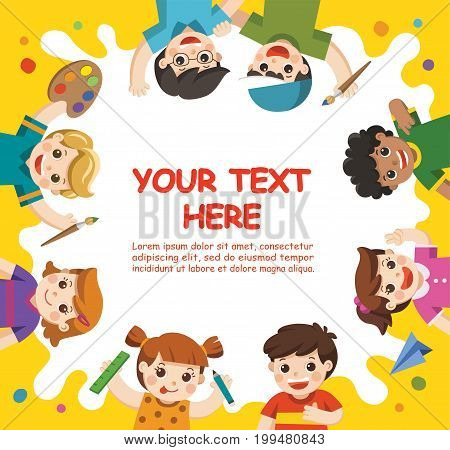 Back to School. Art kids. Cute children have fun and ready to get painting together. Template for advertising brochure. Children look up with interest.