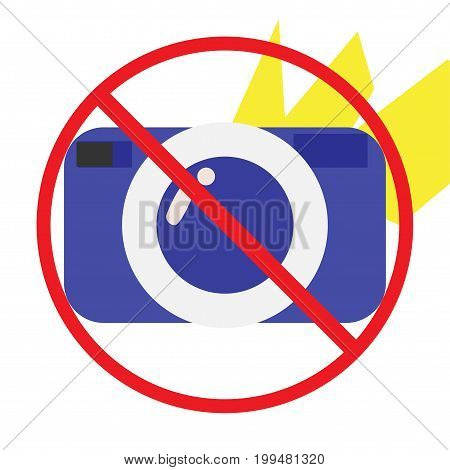 No Photo or photography not allowed, forbidden or prohibited Cartoon Styled vector Icon. Could be also used as no flash or no camera sign.