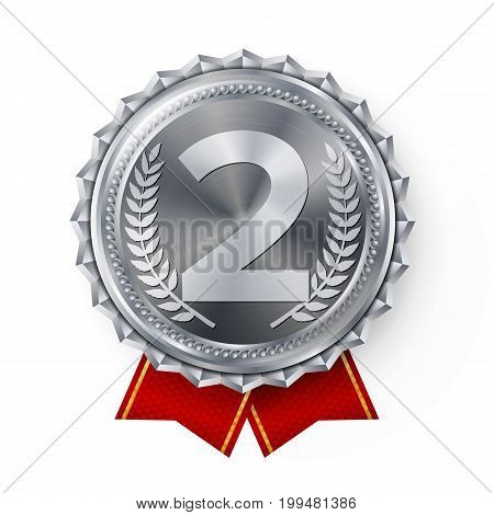 Silver Medal Vector. Silver 2nd Place Badge. Sport Game Silver Challenge Award. Red Ribbon. Isolated. Olive Branch. Realistic Illustration.