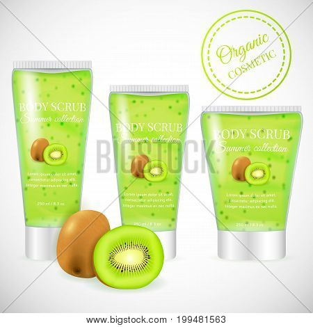 Realistic packaging body scrub bottles, organic scrub kiwi cosmetics tubes.Natural scrub cosmetic and 3d kiwi fruit.Organic cosmetics skin scrub.Fashion magazine advertising, luxury cosmetic collection