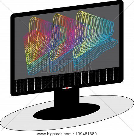 Vector monitor. Screen monitor for computer on color background