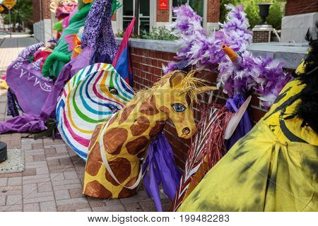 NORWALK-AUGUST 6: Puppets from SONO Arts Fest in downtown see in Norwalk , CT on August 6, 2017.