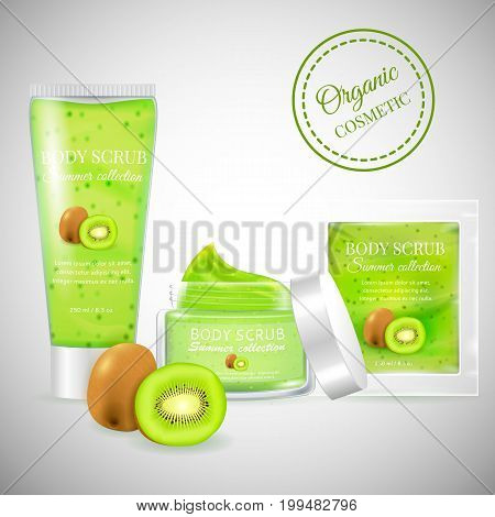 Realistic packaging body scrub bottles.Organic scrub kiwi cosmetics tube, Skin scrub organic cosmetics jar, cosmetics package.Fashion magazine cosmetics advertising, luxury cosmetic collection scrub gel