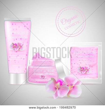 Realistic packaging body scrub bottles.Organic scrub orchid cosmetics tube, Skin scrub organic cosmetics jar, cosmetic package.Fashion magazine cosmetic advertising, luxury cosmetic collection scrub gel