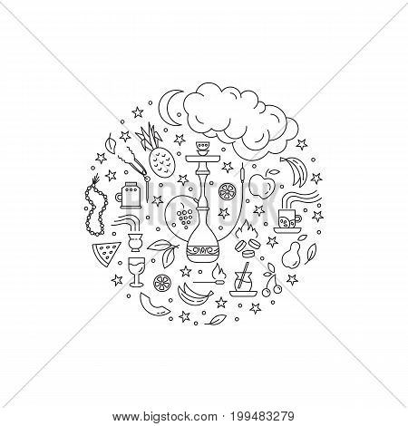 Vector circle concept with line icons isolated on white background. Hookah accessories, smoke, tobacco, fruits, hookah, charcoal. Labels for shop or hookah lounge. Smoke illustration