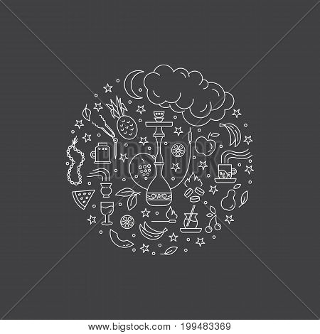 Vector circle concept with line icons isolated on  background. Hookah accessories, smoke, tobacco, fruits, hookah, charcoal. Labels for shop or hookah lounge. Smoke illustration