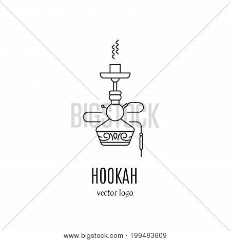 Hookah vector logo design in trendy linear style. Hookah icon isolated on white background. Smoking hookah label perfect for lounge cafe emblem, arabian bar or house, shop.