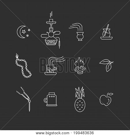 Set of hookah accessories line icons isolated on dark background. Smoke tobacco, fruits, moon, cocktail, hookah, charcoal. Labels for shop or hookah lounge. Smoke illustration