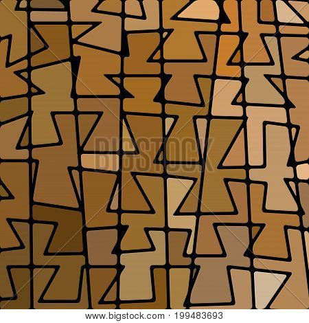 abstract vector stained-glass mosaic background - brown and beige