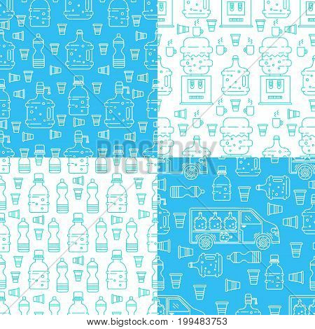 Vector set of seamless patterns with water cooler, plastic bottles, water delivery car, cups. Perfect for water delivery packaging design. Vector background.