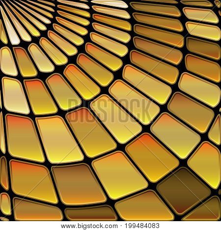 abstract vector stained-glass mosaic background - golden brown