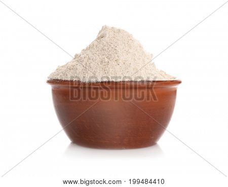 Bowl with oat flour on white background