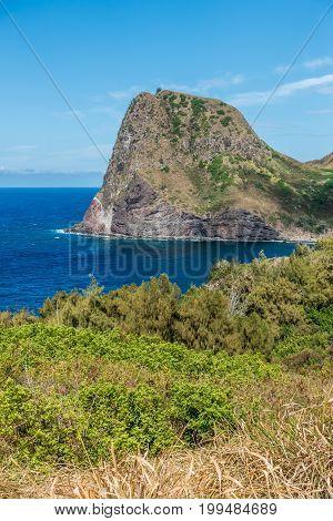 A viww of Kahakuloa Head on Maui Hawaii.