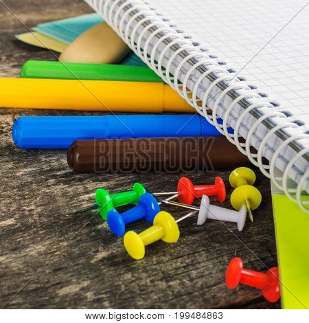 Back To School, Supplies, Notebook On The Grey Background. Square