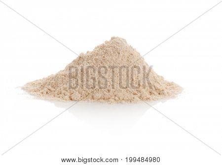 Heap of oat flour on white background