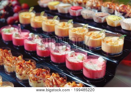 Panna cotta and another desserts on catering table, toned image