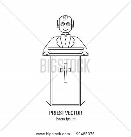 Vector priest in the pulpitin in trendy linear style isolated on white background. Religion icon.