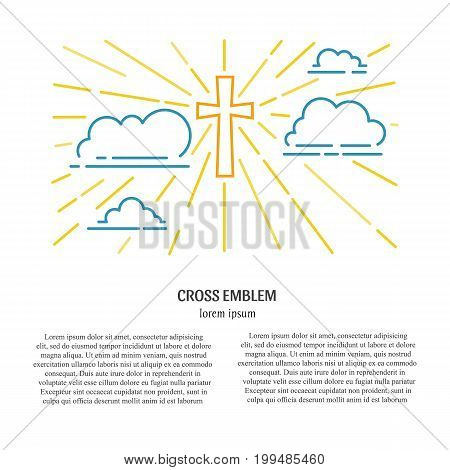 Vector christianity illustration. Cross in the sky with clouds isolated on white background. Religion line illustration with place for your text.