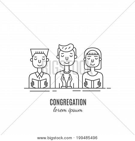 Vector congregation pray with bible. Religion icons.