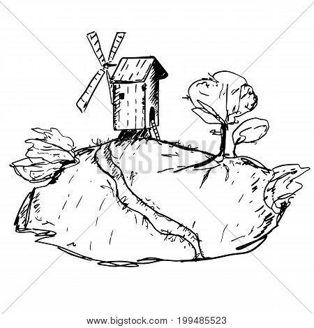 Windmill on the mountain with trees. Hand drawn sketch. Harvest, bakery, bread. Countryside ink landscape. Cozy rustic mill on the hill, road, bushes for design, prints, posters, room decoration.