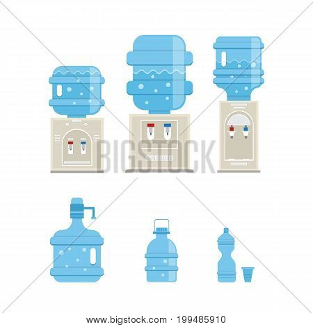 Vector set of  water cooler and bottle icons in trendy flat style. Gray water coolers and  blue full bottles isolated on white background.