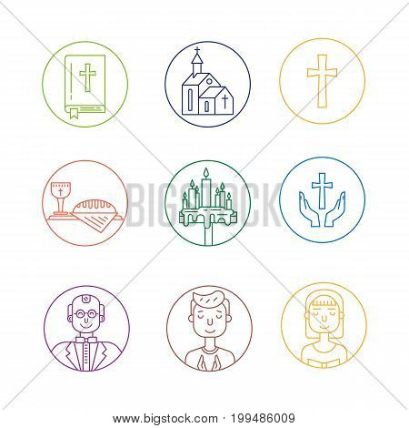 Vector set of different christianity icons. Priest, bible, cross, people pray, smartphone with church on the screen, wine and bread, candles isolated on white. Religion icons.