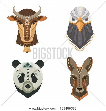 Vector set of animal portraits made in geometrical flat style. Vector heads of kangaroo, panda, cow, bald eagle isolated on white. Flat  icons for your design.