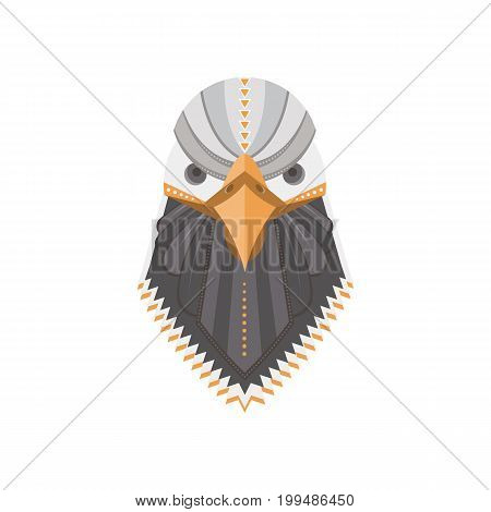 Vector portrait of a bald eagle  made in trendy flat style. USA bird symbol. Perfect for t-shirt design and bags with cute bird character.